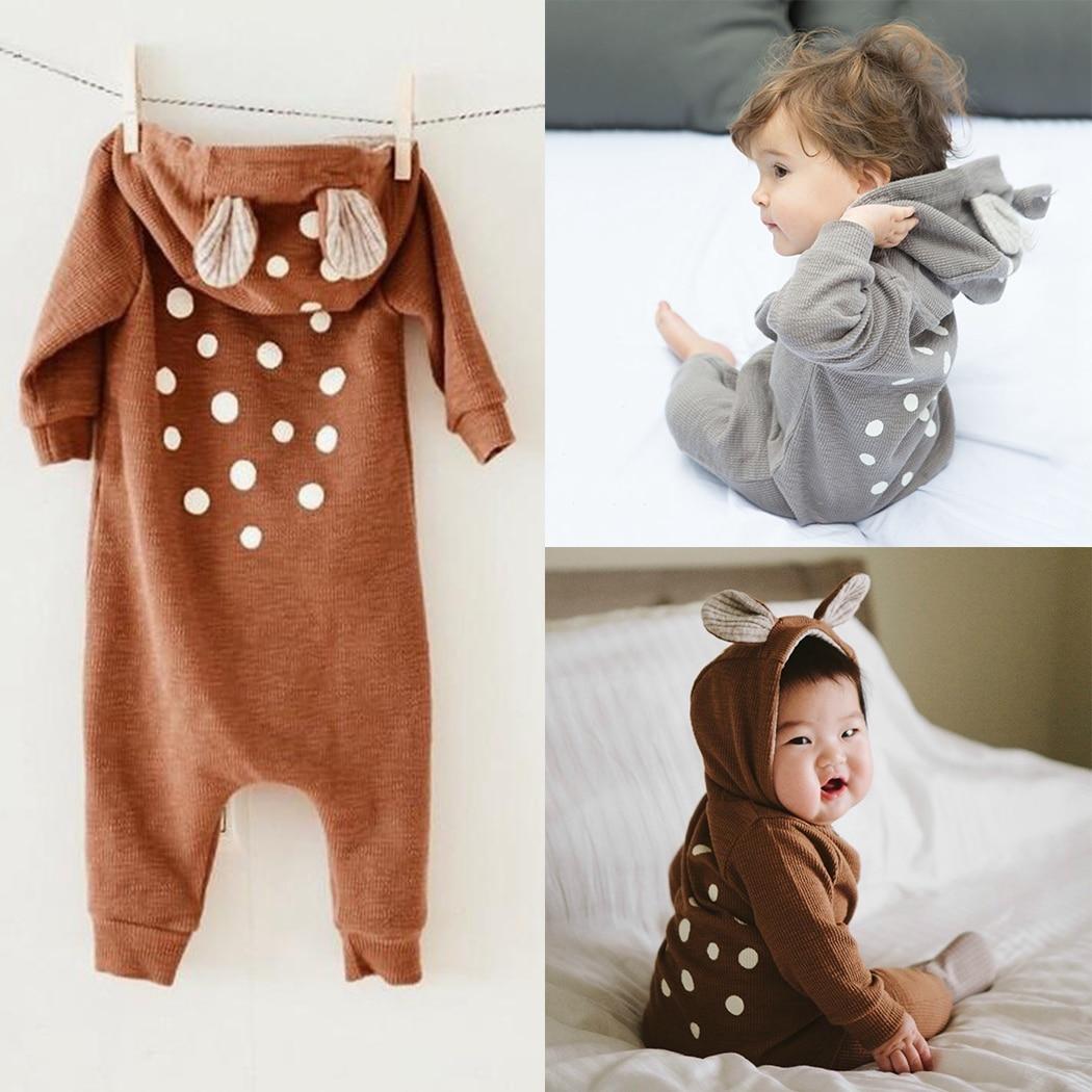 2018 Newborn Baby Boys Girls Clothes Long-Sleeve Hooded Cartoon Reindeer Ears Romper Jumpsuit Roupas De Bebe New Clothing