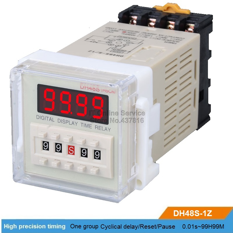 DH48S-1Z 220V/12V/24V LED Digital display Time relay One group delay Reset/Pause function Time adjustable 0.01S~99H99M dc 12v led display digital delay timer control switch module plc automation new