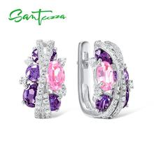 SANTUZZA Silver Earrings For Women Authentic 925 Sterling Silver Shimmering Amethyst Pink Cubic Zirconia серьги Fine Jewelry cheap GDTC 925 Sterling None TRENDY Clip Earrings ROUND Wedding E306872APIZSL925 Earrings silver 925 sterling Cubic Zirconia brincos