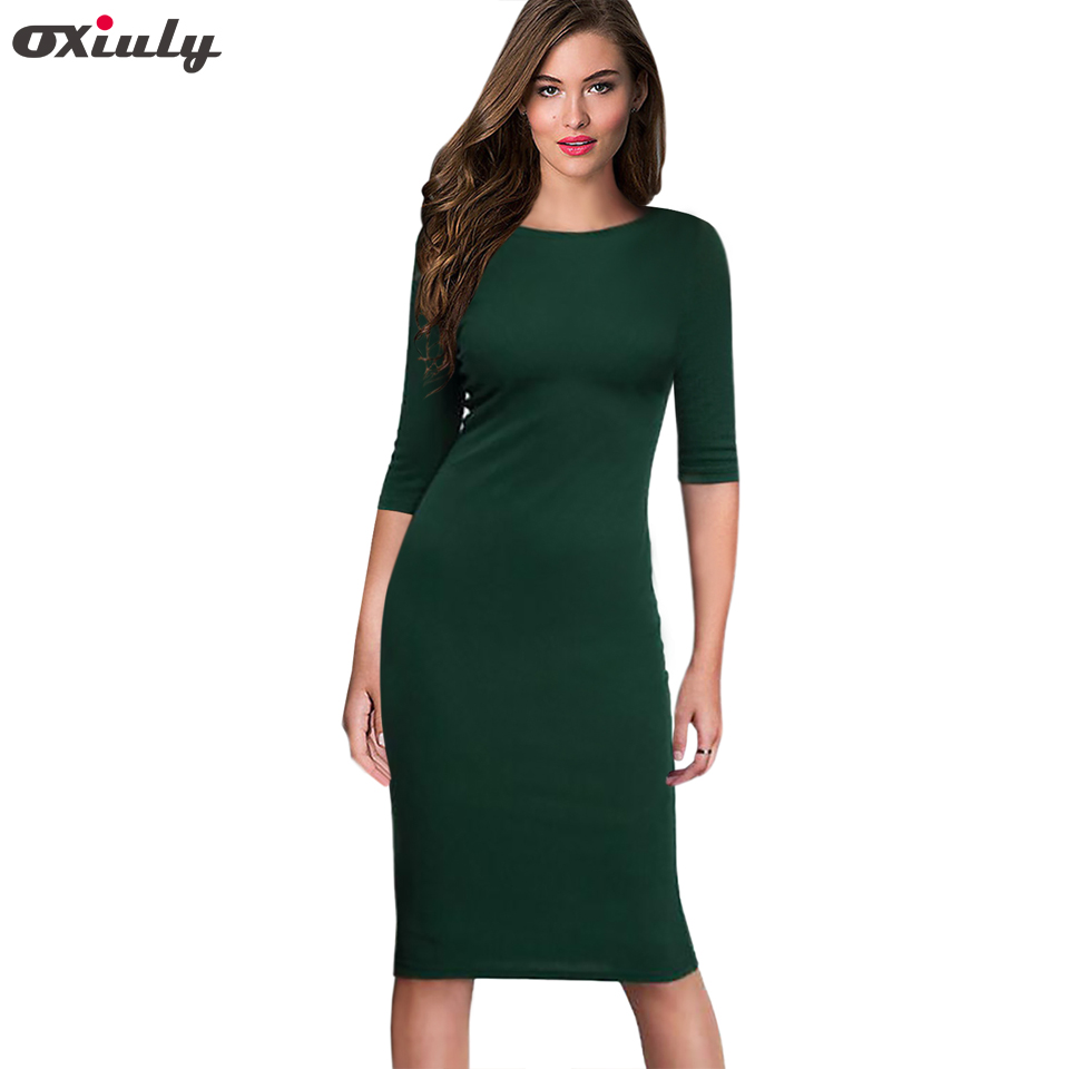Oxiuly Burgundy Bodycon Office Ladies Basic Wear Autumn Elegant Women Solid Dress Half Sleeve Pencil Vestidos