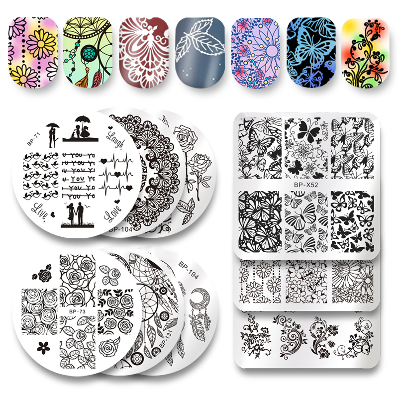 HOT 1 Pc NASCIDO BP73 BONITA Flor Rosa Nail Art Stamp Template Imagem Placa BP Prego Placa de Estampagem