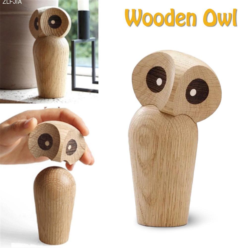 Innovative Owl Animal Statue Ornaments Cute Wooden Nightowl European ...