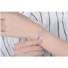 LUKENI Cute Pink Crystal Cherry Blossoms Women Bracelets Jewelry Trendy Silver 925 Girl Anklets Lady Christmas Gift