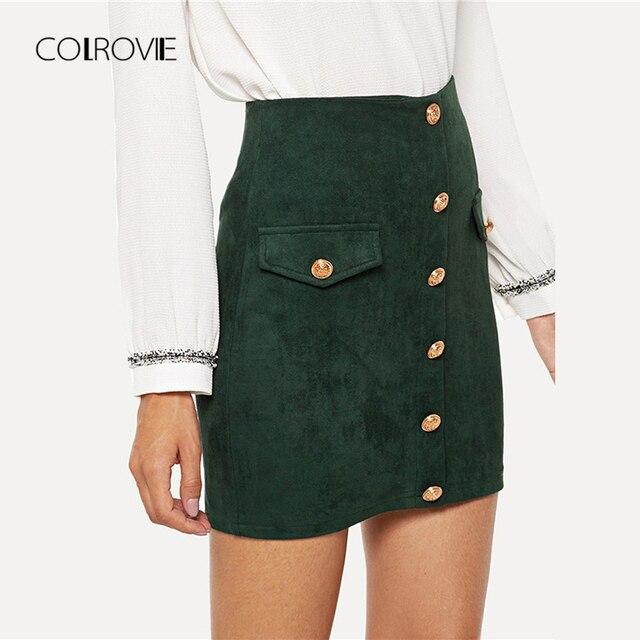 COLROVIE Green Solid Elegant Button Sexy Skirt 2018 Autumn Office Lady Pencil Mini Skirts Women High Waist Bodycon Girls Skirts