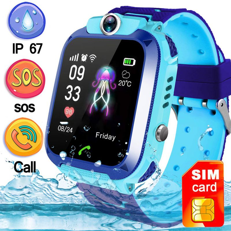 Kid's Smart Waterproof Watch SOS Positioning Tracking Language Intercom Remote Monitoring Smart Watch