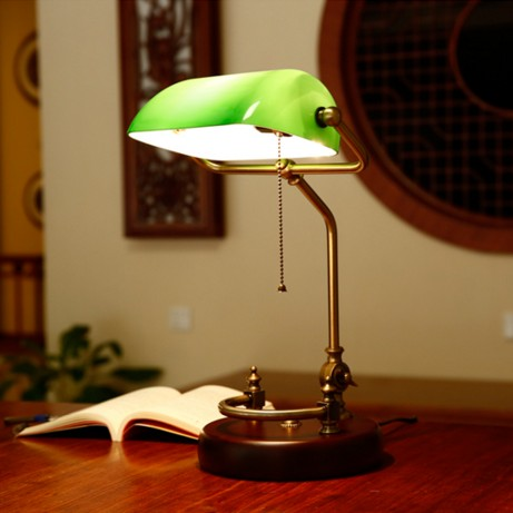 Vintage Banker Table Lamp Green Glass Cover Birch Wood