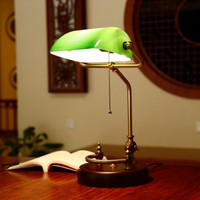 Vintage Banker Table Lamp Green Glass Cover Birch Wood Base Desk Lamp Fixture