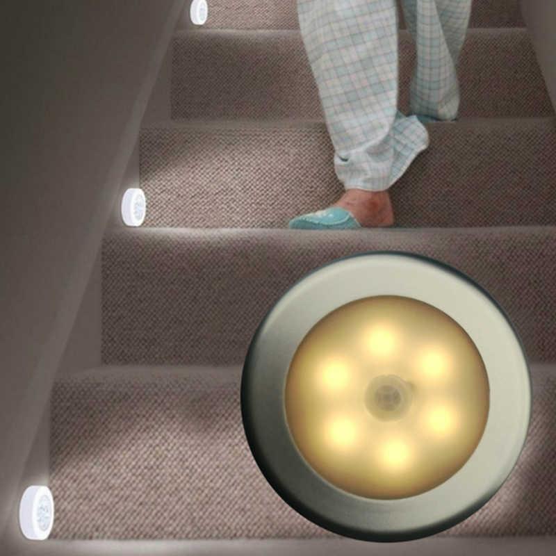 誘導ランプ夜の光の壁センサー 1pc 6 led電池モーション電球緊急ドライpcラウンドaaaクローゼット廊下キャビネット 6led