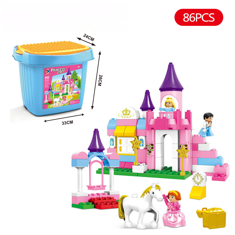 цена на Girl Building Blocks Sets Diy Bricks New Friends Princess Palace 86PCS Educational toys Large particles Compatible With Duplo