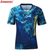 Настоящая мужская футболка Kawasaki с v-образным вырезом и коротким рукавом, футболка для бадминтона, тенниса, Мужская футболка для спорта на открытом воздухе, ST-S1104