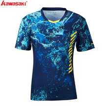 2019 Genuine Kawasaki Men T-shirt V Neck Short Sleeves Badminton Jersey Tennis T Shirt For Male Outdoor Sports Sportswe ST-S1104 snap fastener embellished color spliced v neck short sleeves t shirt for men