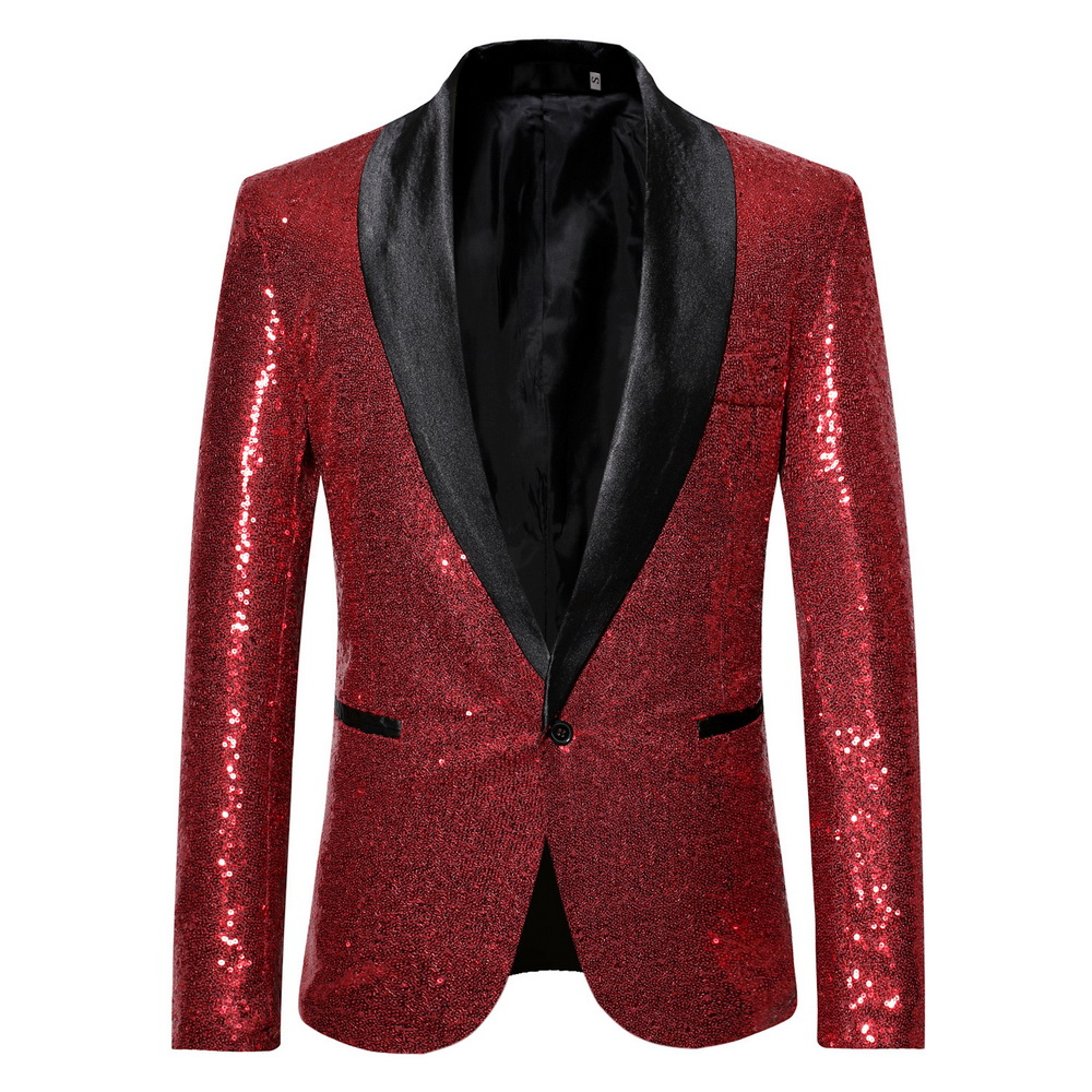 Oeak Fashion Men Sequin Blazers Suit For Wedding One Button Shawl Collar Gliter Suit Jacket Men Nightwear DJ Blazer Jackets 2019
