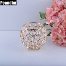 PEANDIM Home Decor K9 Crystal Candlestick 9cm Height Small Crystal Bowl Candle Lantern Wedding Centerpieces Gold Candle Holder