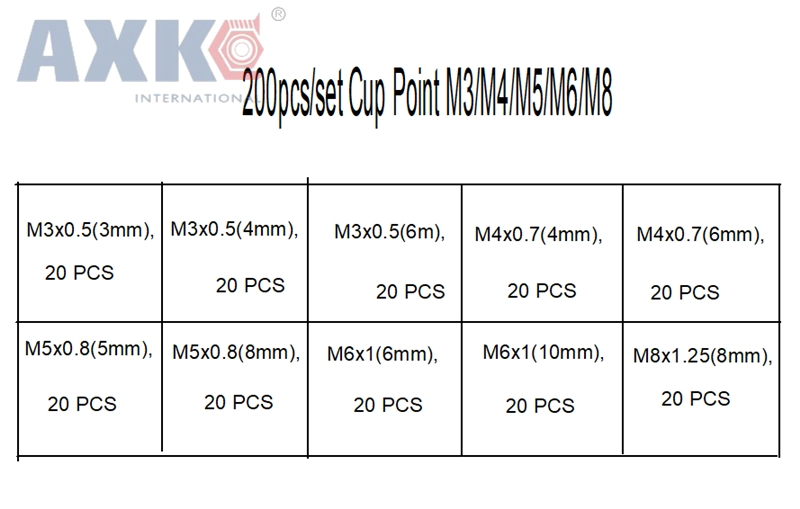 AXK 200pcs/set Stainless Steel Allen Head Socket Hex Set Grub Screw  Assortment Cup Point M3/M4/M5/M6/M8