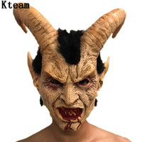 2019 Hot Scary Adult Costume Horn Mask Horror Cow Party Cosplay Halloween Latex Scary Horns Red Devil Mask for Party Cosplay Toy