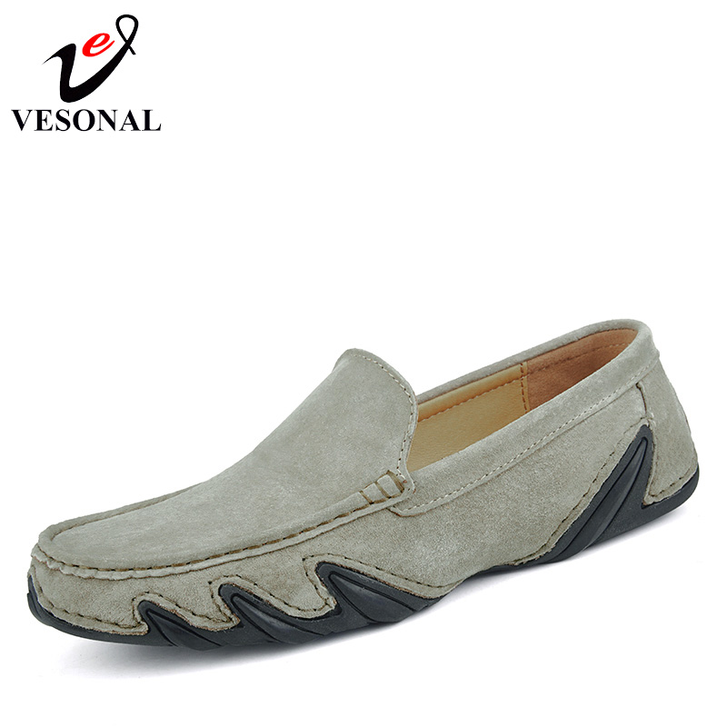 VESONAL Genuine Leather Driving Male Loafers Shoes For Men Moccasins Slip On Spring Summer Casual Flats Boat Soft Light Footwear clax men summer shoes slip on 2017 breathable male flats loafers fisherman shoe casual white boat footwear leather sandals