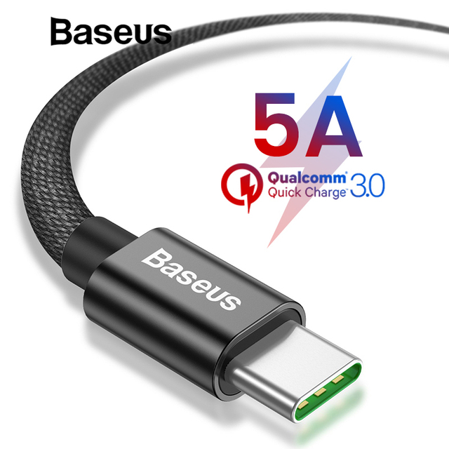 Baseus 5A Super Quick Charge USB Type C Cable for Huawei mate 20 pro 2A Fast Charging Cable for Samsung galaxy note 9 s9 s8 plus
