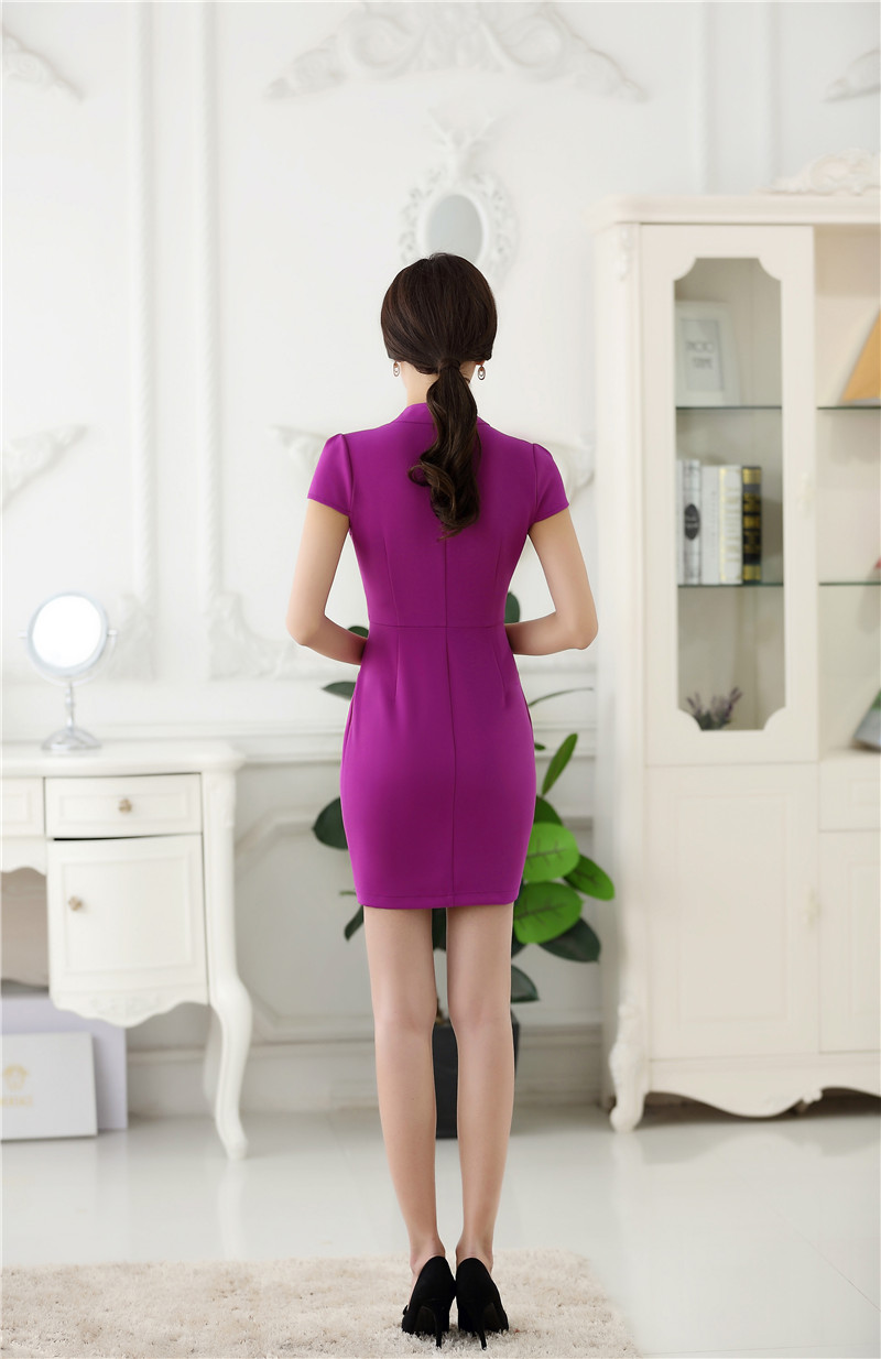 Moda mujer verano Vestidos manga corta Slim formal Oficina damas ...