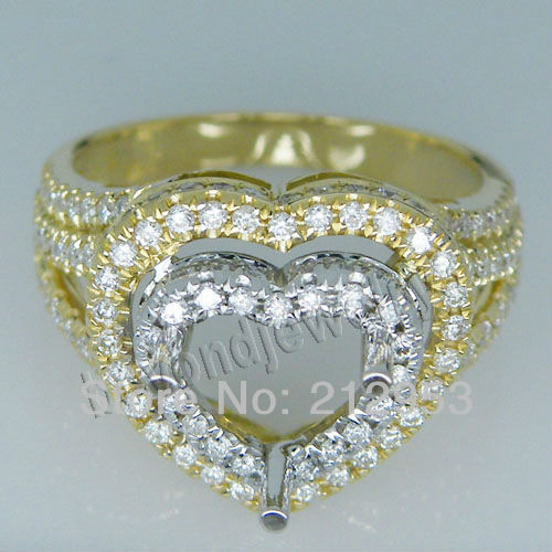 Lovely Hearted Semi Ring Solid 18kt Two Tone Gold  Setting Rings for Women SR00271Lovely Hearted Semi Ring Solid 18kt Two Tone Gold  Setting Rings for Women SR00271