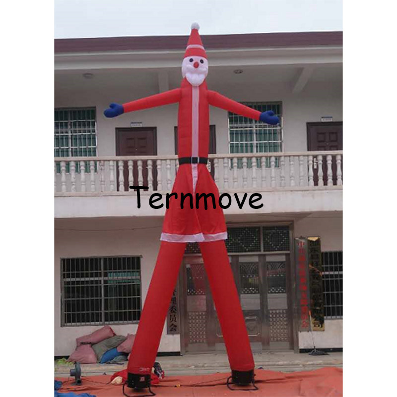 christmas air sky dancer with two tube air dancing dance wind tube man Inflatable Santa Claus Air Dancer for Advertisement цена