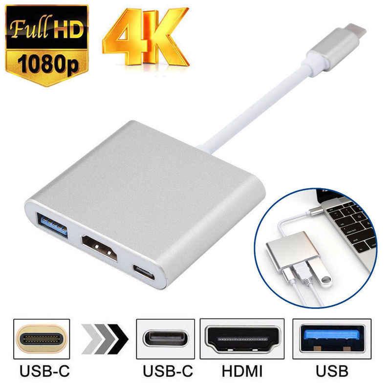 Tipe C untuk HDMI USB 3.0 Pengisian Adaptor Converter USB-C 3.1 HUB Adaptor untuk Mac Air Pro Huawei Mate10 Samsung s8 S9 S10 Plus Baru