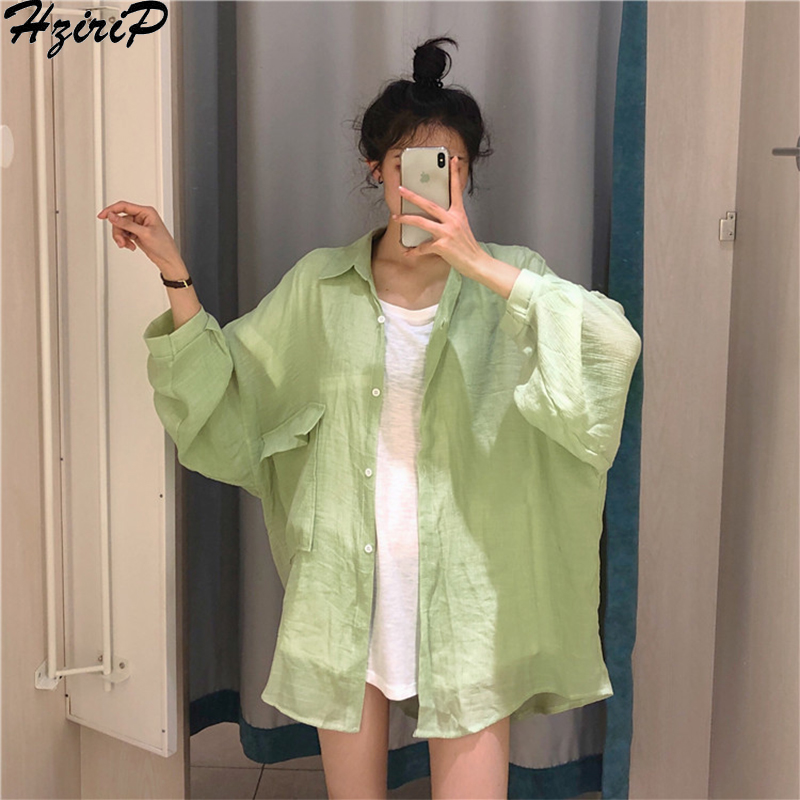 HziriP Fashion 2019 Summer Long-Sleeved Korean Fashion Elegant All-Match Solid Thin Cardigans Casual Loose Sunscreen Shirt