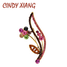 CINDY XIANG New Arrival Rhinestone Colorful Flower Brooches For Women Vintage Elegant Plant Pin Simple Design Wedding Brooch