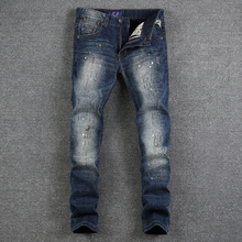 цена на European American High Street Fashion Mens Jeans Dark Blue Color Dirty Paint Ripped Jeans For Men Slim Fit Brand Jeans Pants