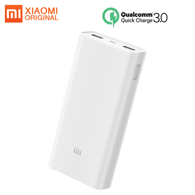 Оригинал Xiao mi power Bank 20000 мАч 2C power bank QC3.0 портативное зарядное устройство 2 USB порта аккумулятор внешний mi power Bank 20000 мАч