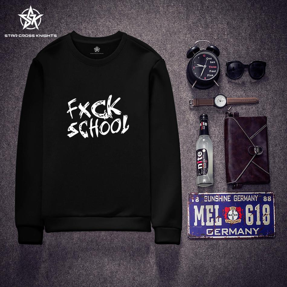 FXCK SCHOOL Sweatshirts Men Hip Hop Harajuku Style Jersey Personality Black Men Hoodies Autumn Casual Men Clothing Sportswear