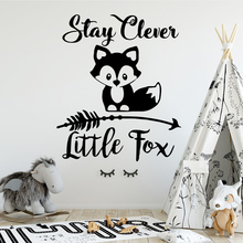 Cartoon little fox Wall Stickers Personalized Creative For Kids Room Living Home Decor Background Art Decal