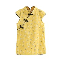 Kids Girls Retro Dress Floral Cheongsam Chinese Qipao Baby Mini Party Dress New