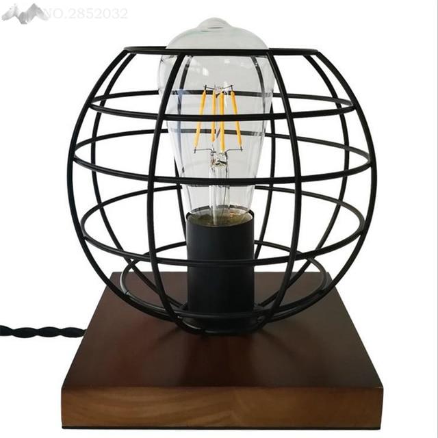 Jw American Retro Solid Wood Iron Cage Desk Light Wooden Creative