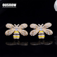 Bee type OUSNOW Zircon Fashion Personality Bee Crystal Jewelry Luxury Cubic Zircon Stud Earrings for Women's Party Gifts