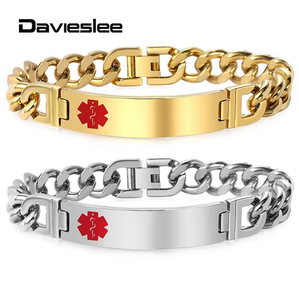 Davieslee Womens Mens Bracelets 11mm Medical Care Alert ID Gold Silver Color Stainless Steel Bracelets for Women Men LKBM165