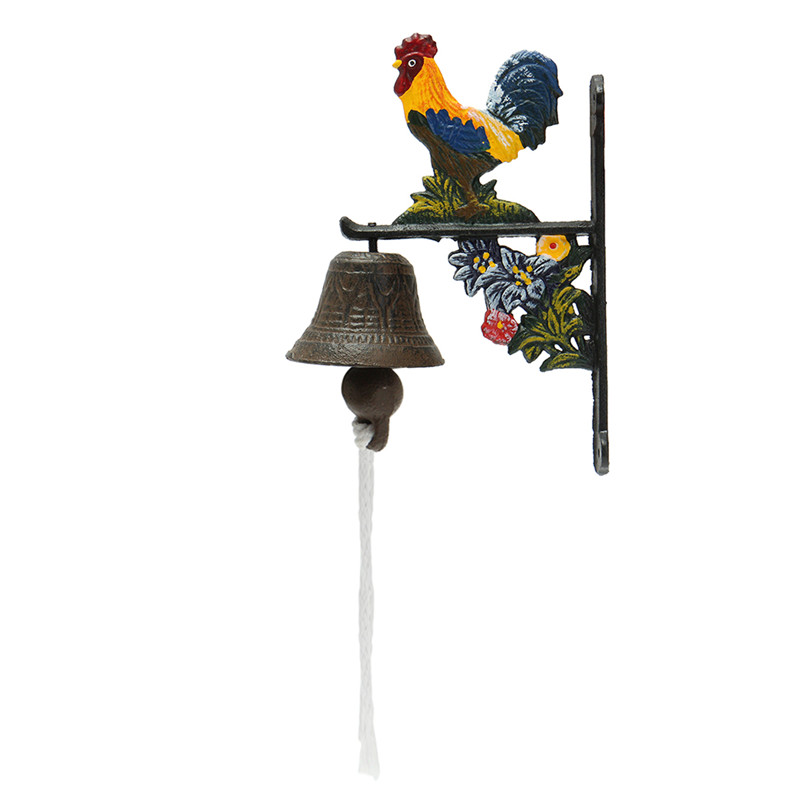 Door Bell Vintage Style Metal Cast Iron Rooster Wall Mounted Home Garden Decor Access Control For Home For Remind