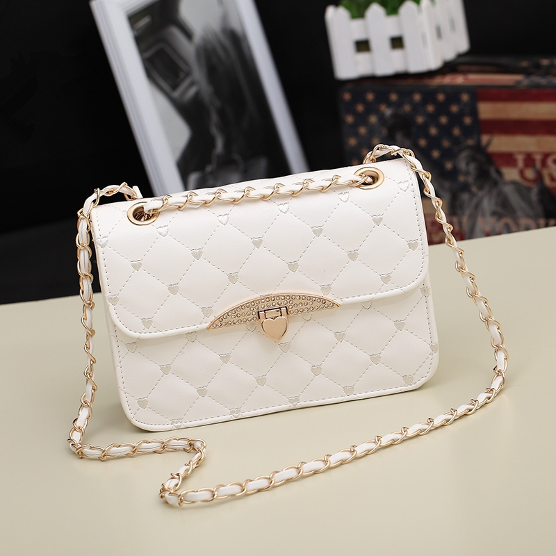 New Rhinestone Women Bag Chain Plaid Shoulder Bags Diamond Embroidery Crossbody