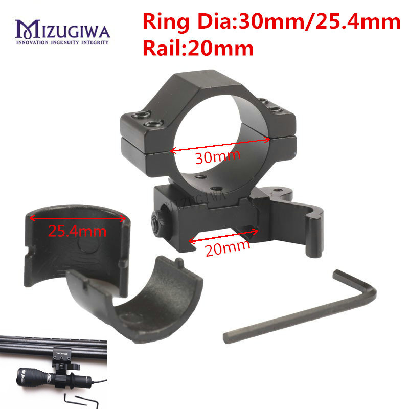 Hunting Scope Mounts & Accessories Low Profile Scope Mount 30mm Ring Heavy Duty Shock Proof 6 Bolts Trilho De 20mm Weave Picatinny Rail Mount Lasers Flashlights