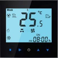 16A Touchscreen Black Colour Programmable Modbus Thermostat For Electric Heating With Modbus Function