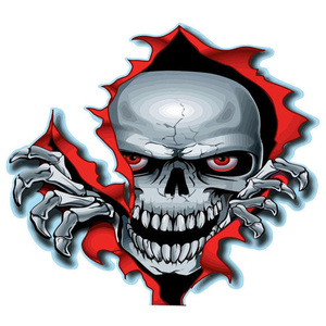 1PC Red Eyed Skull Computer Stickers PET Vinyl Laptop Skin Sticker Moto Car Suitcase Decoration Decal for MacBook Air 11 13