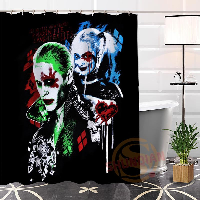 Custom Joker and Harley Quinn@1 New arrival Fabric 100% Polyester Shower Curtain bathroom Waterproof Popular Hot Modern H0223-63