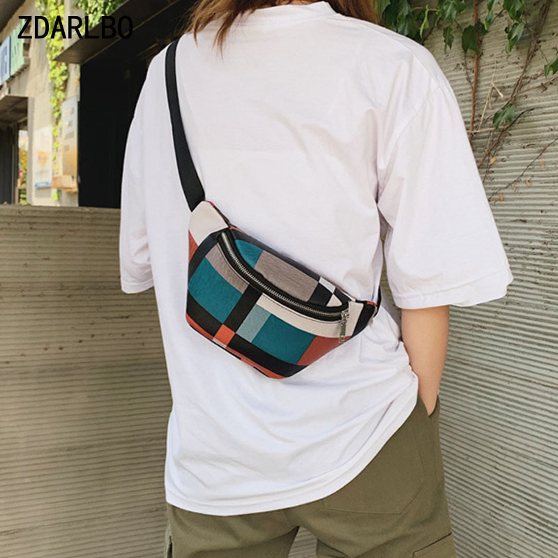 Plaid Women Waist Bag Designer Striped Belt Bags High Quality Crossbody Chest Bag PU Leather Female Fanny Pack Banana Hip Purse