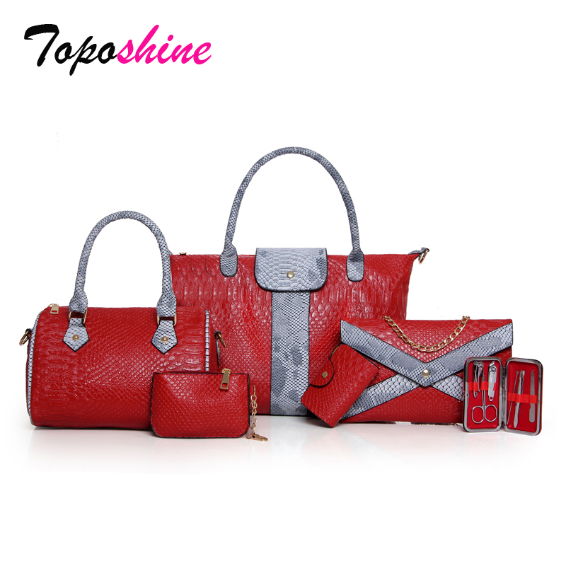 Korean Version of The New Fashion Personalized Snake Stitching Six Sets of Mother Bag Wild Casual Shoulder Messenger Bag clasp shiny crystal shell handbags korean version of the new fashion personality wild casual shoulder messenger bag