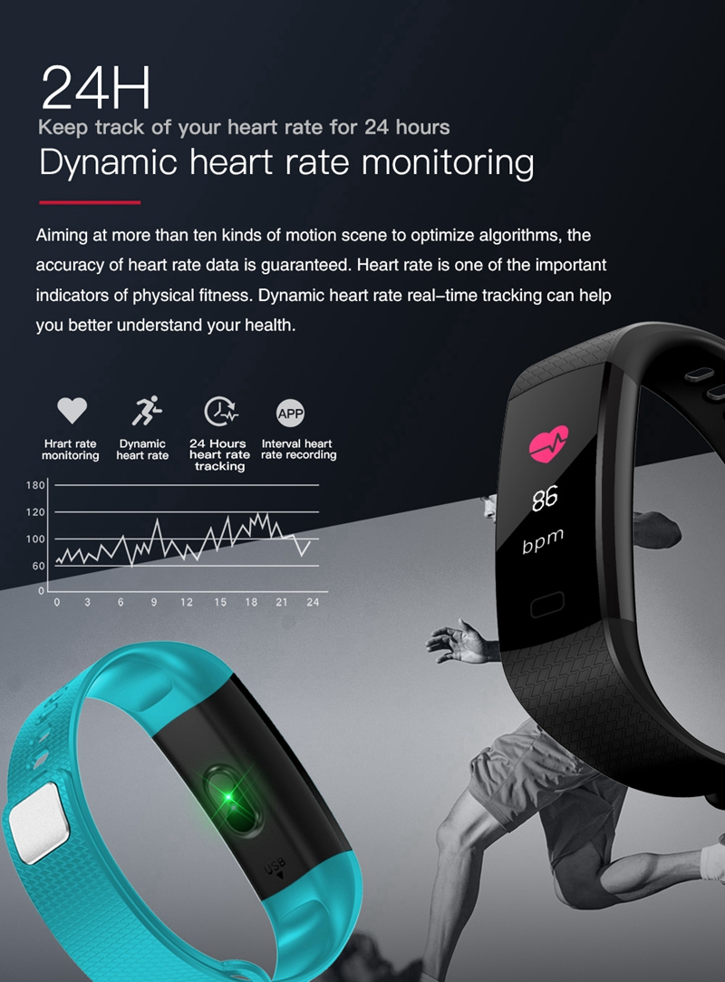 Hangrui Y5 Smart Bracelet Fitness Tracker Heart Rate Tracker Waterproof Sport Smart Wristband + Y5 Electronic Wristband Strap (11)
