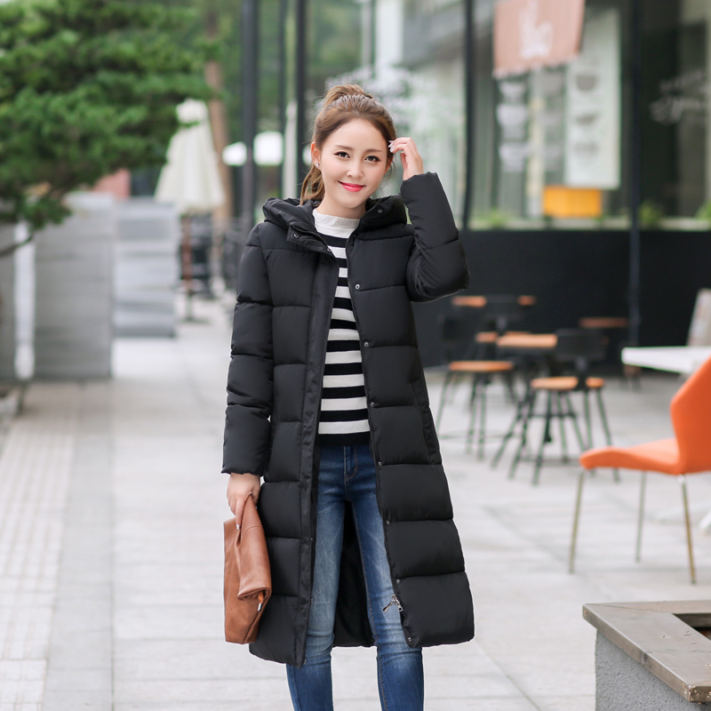 11 Color Hot 2017 Winter Hooded Casual Brand Print Women Down Coat Cotton Padded Outwear Warm Parka Woman Wadded Long Jacket 943