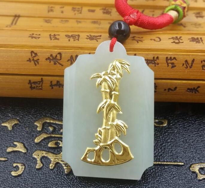 2018 High Quality Natural stone Hetian Jades bamboo Pendant Necklace Lucky Amulet Pendant for Men Women Best Gift natural jadeite jades stone laughing buddha pendant necklace maitreya buddha pendant gift for men women s jades jewelry