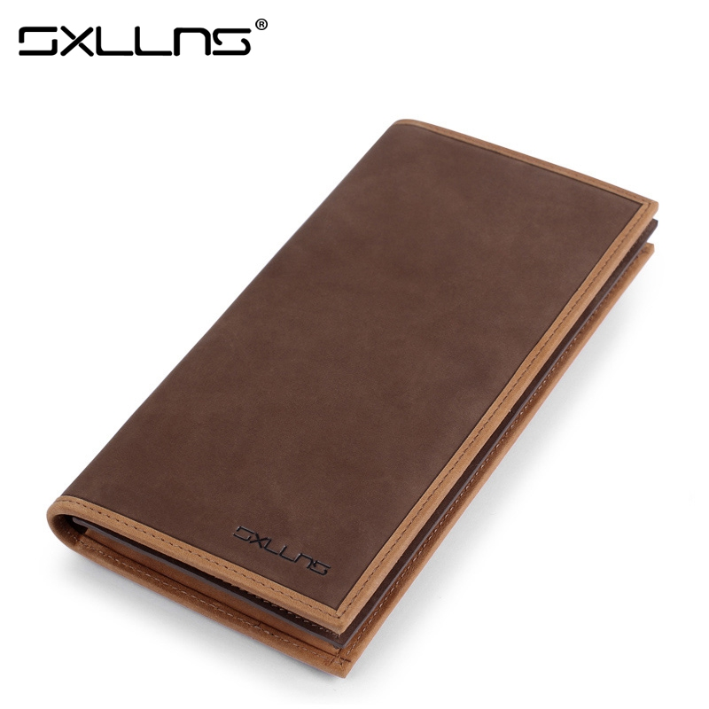 ФОТО Man Wallet Brand Sxllns Mens Wallet Leather Genuine Men's Purse Vintage Matte Cowhide Credit Card Holder Men Wallets