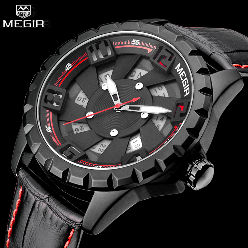 MEGIR Luxury Brand Military Watches Men Quartz Chronograph Leather Strap Clock Man Sports Army Wrist Watch Relogios Masculino skmei luxury brand military watch men quartz analog clock nylon strap clock man sports watches army relogios masculino