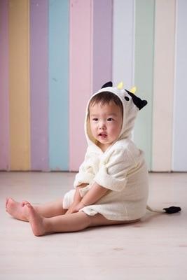 Розничная ; 16 дизайнов; детское банное полотенце с капюшоном; купальный халат с изображениями животных; детские пижамы с героями мультфильмов - Цвет: Beige cow