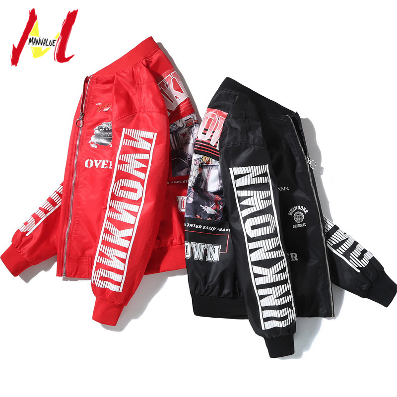 MANVALUE Spring and Autumn New Men's Thin Coats Tide Young Teenagers Hip-hop Card Printing Suits Ma1 Pilot Jackets image